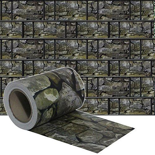 SAILUN® 35m x 19cm Sichtschutzstreifen mit 20 x Befestigungsclipse Sichtschutz Streifen Doppelstabmattenzaun PVC Blickdicht für Einzel- und Doppelstabmatten geeignet (35m x 19cm, Stein-Optik)