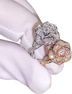 3D Rose Ring CZ Simulated Diamond Ring Rose Gold Ring Rose Flower Ring for Women