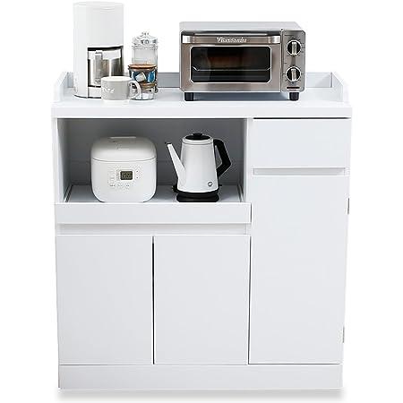 LOWYA ロウヤ キッチン収納 食器棚 チェスト レンジ台 Aタイプ 下段 ホワイト