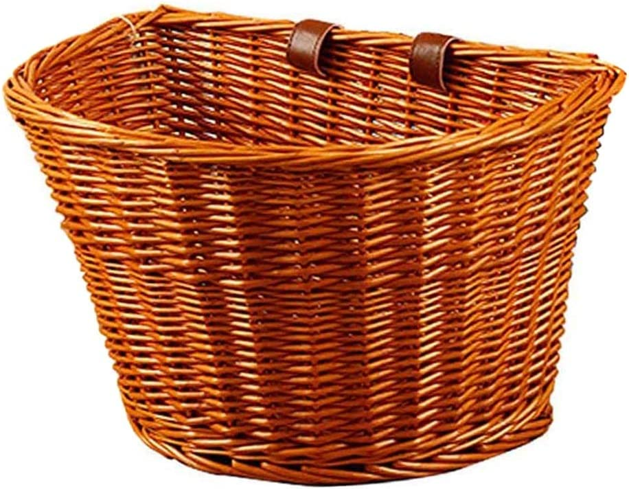 Flykee Wicker D-Shaped New York Mall Sales Bike Basket Portable Hand-Woven Shopping