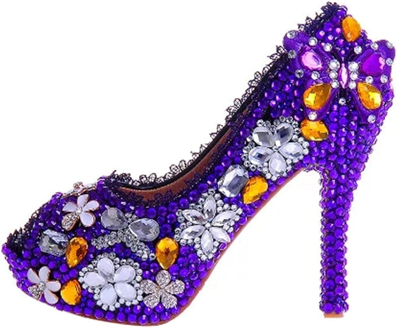 TDA Women's Fashion Studded Flowers Rhinestones Wedding Party Dress Stiletto shoes