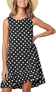 Women's Casual Sleeveless Polka Dot Dress Ruffle Flounce Round Neck Loose Swing A-Line Pocket Mini Dress