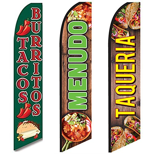 3 Swooper Flags Menudo Tacos Burritos & Taqueria Mexican Food Sale Open