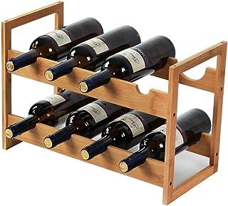 Organisation de rangement de cuisine Bouteille de vin autoportante Tonneau en bambou 8 bouteilles Support de casier à vin ...