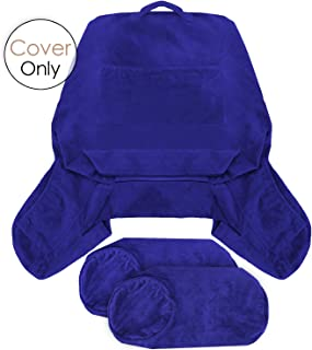 Nestl Reading Pillow Covers, Extra Large Bed Rest Pillow with Arms Cover - Detachable Neck Roll & Lumbar Support Pillow Cover - Removable Covers Royal Blue