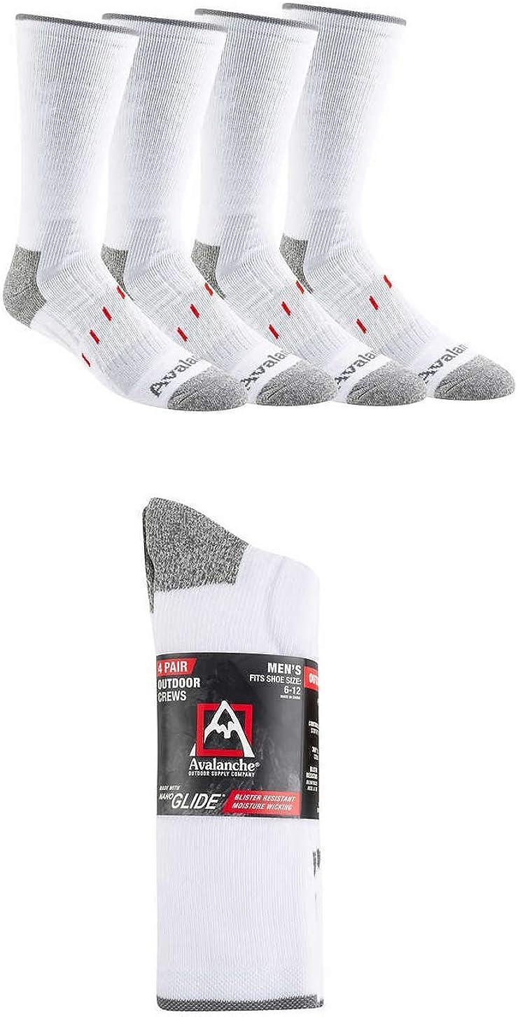Avalanche Men's Crew Sock Anti-Blister Heel Toe Support Arch 360 Degree Full Cushion, 4-pair