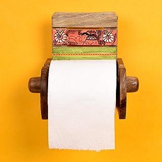 AAKRITI ART CREATIONS Multicolour Work Wood Wall Toilet Roll Holder (Brown)