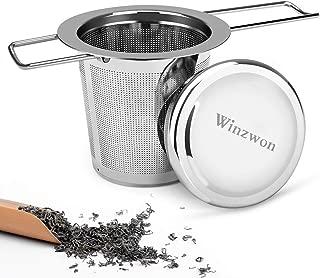 filtro colador de t/é de acero inoxidable con mango de silicona para teteras LaLa Dloce Infusor de t/é Set de 2 tazas y tazas reutilizables para t/é empinado con tapa