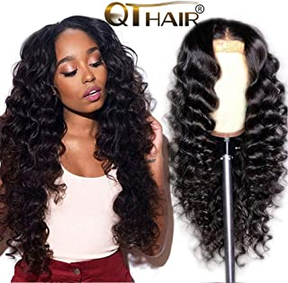 QTHAIR 12A Grade 13x4 Lace Front Wig Brazilian Loose Wave Deep Wave Human Hair Wigs with Baby Hair Brazilian Virgin Hair for Black Women 150% Density Natural Color 26 inch Can be Dyed/Bleached