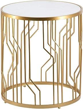 JHBW Table Basse en marbre Noir/Blanc, Structure en Fer forgé, Table de Coin décorative Moderne, qualité de la création d&#39