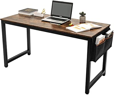 "ARCCI Computer Desk Home Office Desk w/Storage Bag and Hook, 55"" Vintage Brown Modern Laptop Table Sturdy Gaming Desk, Simple Writing & Working Desk"