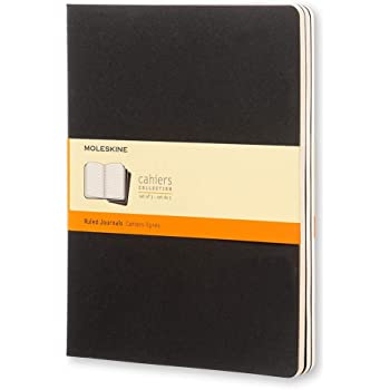 """Moleskine Cahier Journal, Soft Cover, XL (7.5"""" x 9.5"""") Ruled/Lined, Black, 120 Pages (Set of 3)"""