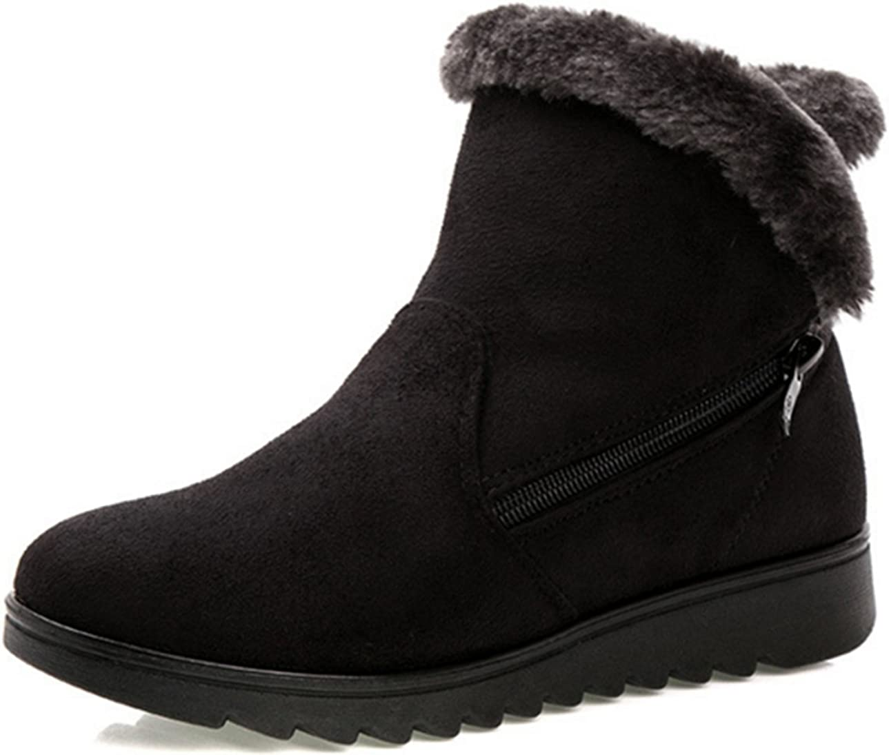FHD Womens Cuffed Free shipping anywhere in the nation Fur Lined Side On Winte Flat Zipper High quality Ankle Pull