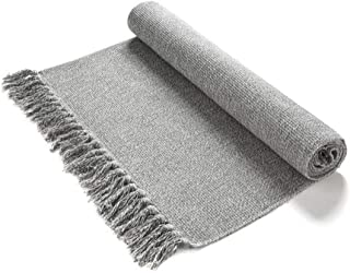 Eanpet Braided Rug Cotton Area Rug Hand Woven Reversible Floor Rug Pure Tassels Throw Rugs Door Mat Laundry Room Rug Indoor Runner Bathroom Tablecloth Grey 2x6 FT