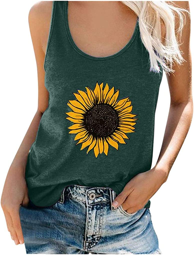 Summer Tank Tops for Women,Sunflower Printed Shirts Sleeveless Workout Blouse Casual Loose-fit Camisoles Tee Tops