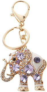 Prettyia Cute Elephant Crystal Rhinestone Pendent Bag Purse Keychain Key Ring Purple