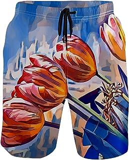 水着 メンズ ユリ 春 油画 ビーチパンツ サーフパンツ 水陸両用 速乾 旅行 短いパンツ 海水パンツ パンツ 耐久性 着心地 メッシュインナー付き ポケット スイミング 運動 マリンスポーツS