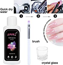 JURLIN 45ml Anti-stick Poly Gel Nail Liquid Slip Solution + Brush + Glass Cup For Nail Builder Gel Nail DIY Extension Tool