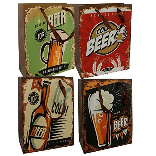 12-tlg. Set Geschenktüten Bier H 23 cm, 4 Design sortiert Geschenktaschen Geschenkverpackung