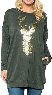 Ladies Ugly Christmas Sweater, Women Girls Cute Shining Reindeer Pullover Sweatshirt