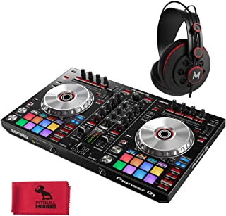 Pioneer DJ DDJ-SR2 Portable 2-Channel Controller for Serato DJ with MHPRO10 Full Range Professional Monitoring Headphones and Pitbull Audio Microfiber Cloth.