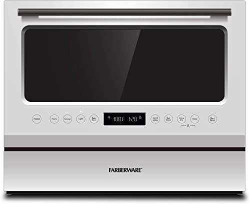 Farberware FCD06ASWWHC Countertop Dishwasher, 6 Piece, Glass Door White