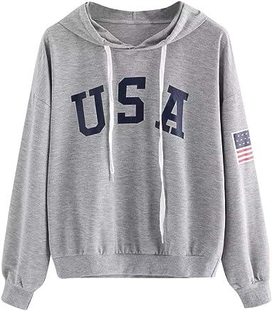 6c048baf BOLUOYI Sweatshirts for Women Hoodie Pullover,Women's Hoodie Letter Flag  Printed Sweatshirt Long Sleeve Pullover