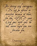 Keep Calm Collection Be Strong and Courageous (Deuteronomy 31:6), Bible Verse Art Print