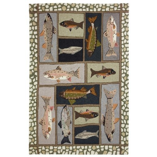 Homefires Mountain Trout 28-Inch by 90-Inch Indoor Hand Hooked Area Rug
