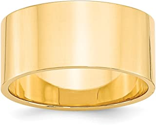 14k Yellow Gold 10mm Flat Wedding Ring Band Size 7.5 Classic Fine Jewelry Gifts For Women For Her