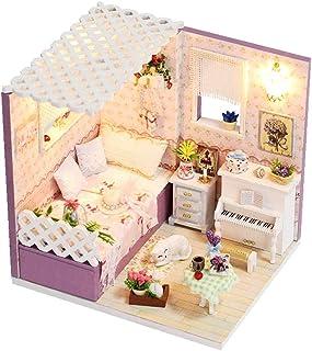 ROBOX DIYMiniature Dollhouse Kit Mini Dolls for Girl Romantic Bedroom Hand-AssembledModern Little House Miniatures Proje...