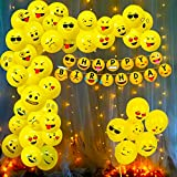 Emoji printed birthday Balloon and Banner packets inlcudes: 1pc emoji banner, 50pcs emoji theme balloon and 1pc led light set. These Emoji theme balloon and paper banner is perfect for any kids birthday party decoration, girl or boy and any age birth...