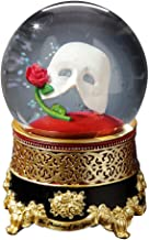 The San Francisco Music Box Company Phantom of The Opera Classic Mask with Rose Water Globe