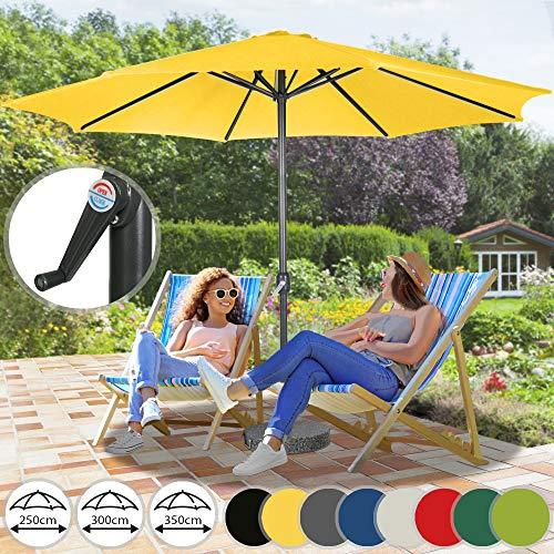 MIADOMODO Sonnenschirm in Ø 2,5m / Ø 3m / Ø 3,5m - aus Stahlrohr und Wasserabweisender Schirmbezug, mit Kurbel - Marktschirm, Gartenschirm, Terrassenschirm, Ampelschirm, Strandschirm, (Ø 3,5 m, Gelb)