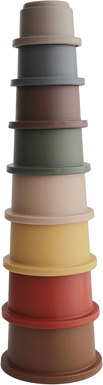 Mushie Juguetes Apilables Bebé - 100% Libre de BPA - Educativo Cubos Piramide Apilar (Retro)