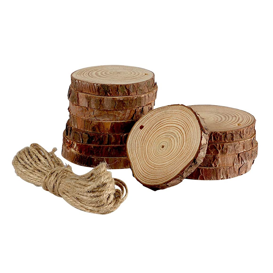 Joy-Leo 12 Pack 3-4 Inch Natural Unfinished Wood Slices[Fumigated/0.4 Inch Thick] with Hole and Jute Twine for Wood Burning & Crafts Project, Wood Cork Coasters for Drinks & Wine Glasses & Coffee Mug