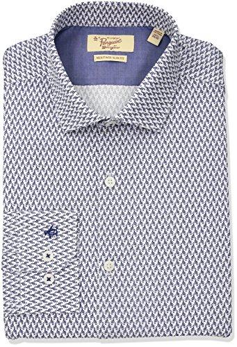 Original Penguin Men's Slim Fit Spread Collar Fashion Dress Shirt, Blue Note, 15.5 32/33