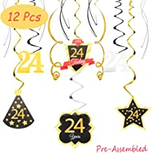 24 Birthday Decoration Happy 24th Birthday Party Silver Black Gold Foil Swirl Streamers I'm Twenty Four Years Old Today Birthday Hat Gold Star Ornament Party Present Supplies