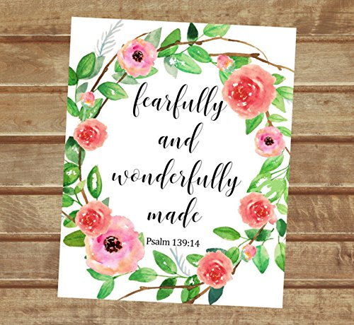 "Fearfully and Wonderfully Made, Psalm 139:14- Inspirational Quote Art Print, Floral Wreath Wall Art, Unframed Print, 8""x10"" Art Print, Nursery Art Print, Bible Verse Wall Art - P522"