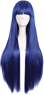 MapofBeauty 80cm/31 pulgada largo lacio seorita lacio anime traje Pelucas (oscuro azul/negro)