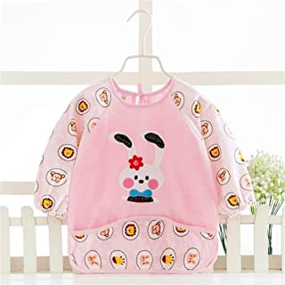 0-3 Years Old Baby Bib With Sleeve Fashion Waterproof Anti-wear Children's Dirty Crystal Cashmere Long-sleeved Bib Unisex ...