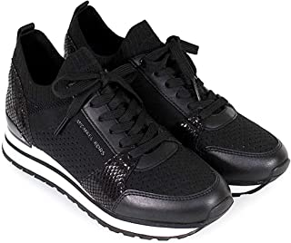 MK Women's Billie Knit Trainer Fabric Sneakers, Black, Size 10.0