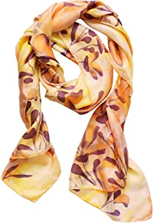 3ca0c6818258d Womens Silk Scarf Pastel Yellow Orange Hand Painted Abstract Floral Shawl  For Women