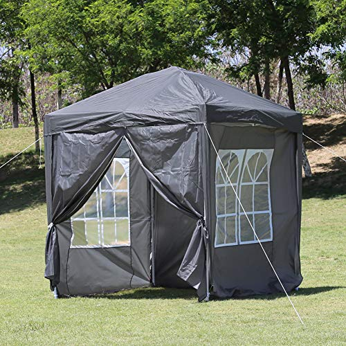 TUKAILAI Portable 3x3m Heavy Duty Pop Up Gazebo Garden Gazebo Awning Canopy Shelter with 4 Side Panels & Carry Bag Steel Frame Waterproof for Outdoor Wedding Party Event Four Seasons Grey