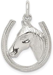 925 Sterling Silver Horseshoe Horse Head Pendant Charm Necklace Good Luck Italian Horn Animal Western Man Hobby Sport Prof...