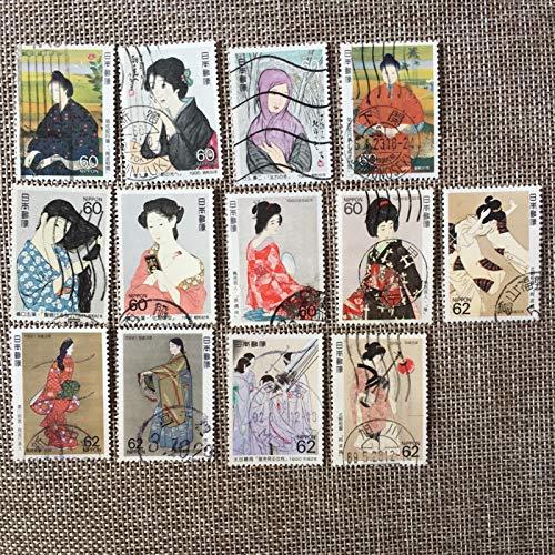 13 Unids/Set 1985-1991 Sellos de Correos de Japón Kimono Beauty Girls Usados Sellos de Correos marcados para...