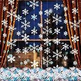 663 Piezas de Adornos de Copo de Nieve de Navidad,600 Confeti de Copo de Nieve y 63 Guirnaldas de Copo de Nieve Colgantes de Navidad Blancas para Decoración de Navidad Boda...