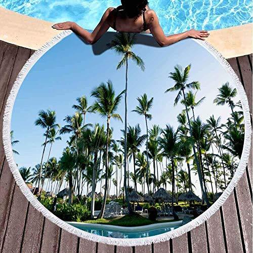 Xuanlin Toallas de Playa para Mujeres, Toallas de Playa para niñas Toalla de Playa Personalizada Paradise Beach Ocean Sand Palmeras Toalla de Playa Redonda de Microfibra de 60 x 60 Pulgadas