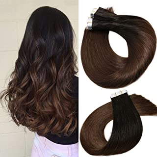 Tape In Hair Extensions Human Hair Balayage Ombre Hair 20pcs/50g Per Set Natural Black Fading to Medium Brown Double Sided Tape Skin Weft Remy Silk Straight Hair Glue in Extensions Human Hair 18 Inch