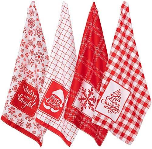 Whaline Christmas Kitchen Towel Red White Plaid Dish Towel Snowflake Xmas Tree Soft Dishcloth product image